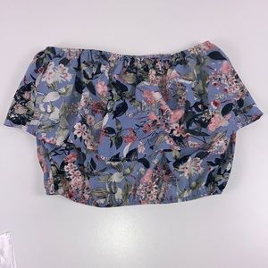 Lulu's I Floral Tube Crop Top Size Large